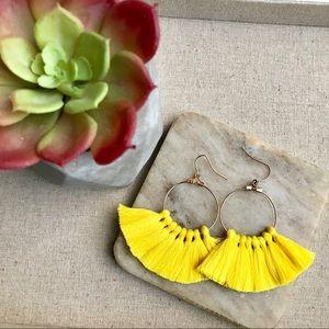 Jewelry - Tassel Fringe Earrings Yellow Bohemian Boho Spring